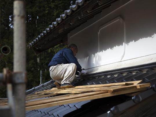 古民家の外壁補修工事中2