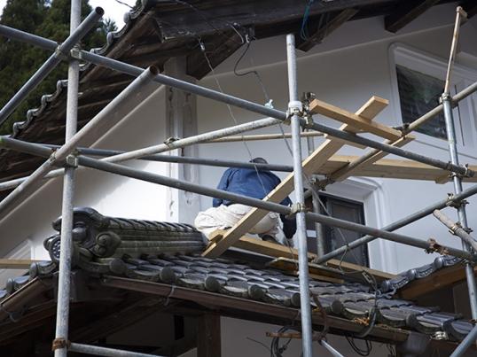 古民家の外壁補修工事中3