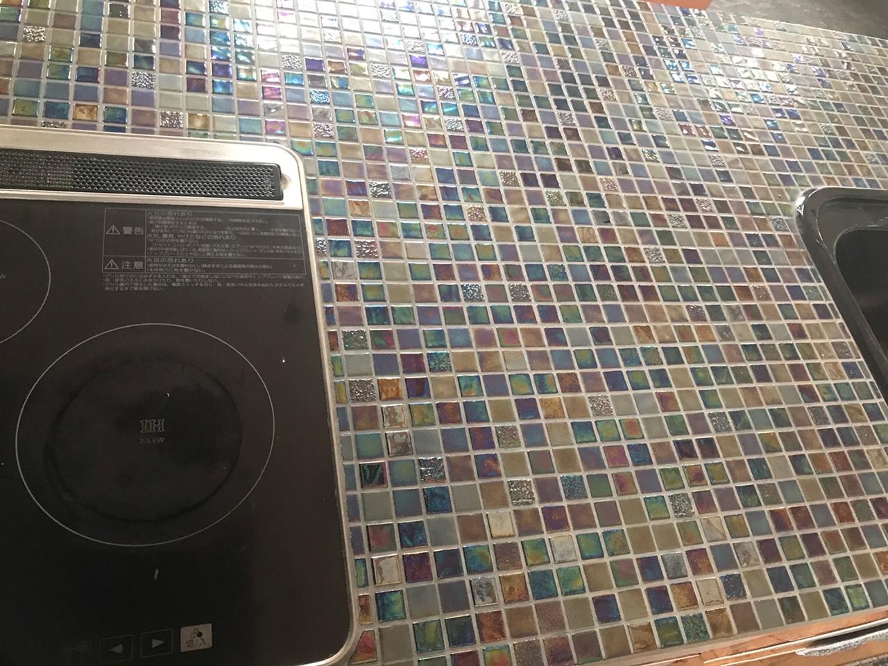 ガラスモザイクタイルにキッチンリフォーム!4